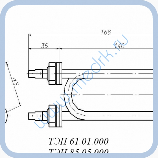 ТЭН 61.01.000 (1,5кВт, 220В, н/сталь, вода)  Вид 2