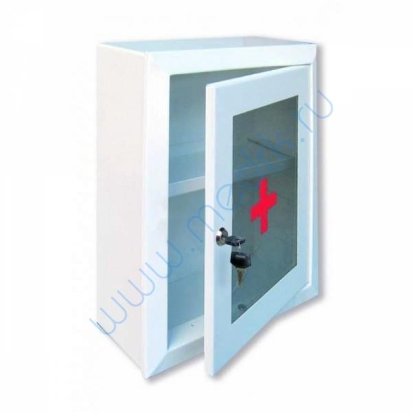 Аптечка 2 медицинская навесная, со стеклом, с замком и ключом 330х280х140   Вид 1